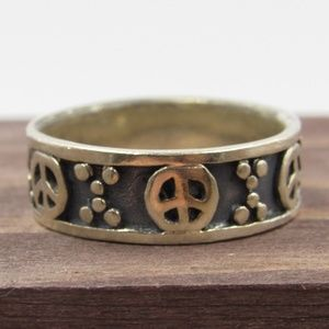Size 7 Sterling Silver Peace Symbol Hippie Band